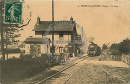 /!\ 1217 - CPA/CPSM - 60 - Vineuil : La Gare (train à Vapeur) - France
