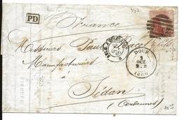 DOUR Belgique N° 12A (40c) 2.10.1860 + Entrée BELG. QUIEURIN B  + Cachet 8 Barres 186 -DOUR) Pour SEDAN  .  ..G - Belgique