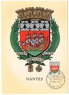 HERALDIQUE = 44 NANTES 1958 = CARTE MAXIMUM + CACHET PREMIER JOUR N° 1185 ARMOIRIES - Cartes-Maximum