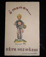 FETE DES MERES ILLUSTRATION GARCON AVEC CADEAU FETES DES MAMANS MOTHER DAY ANTIQUE POSTCARD CPA - Autres