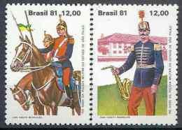 1981 BRESIL 1517-18** Police Militaire, Fanfare, Cheval - Brasil