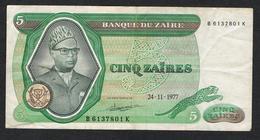 //  ZAIRE  5 ZAIRES   24 - 11 - 1977 - Zaïre