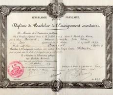 Diplôme Bachelier Enseignement Secondaire 1908 Caen Maurice Bonnet - Diploma & School Reports