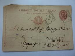 """Cartolina Postale Viaggiata Per Valladolid  ( Spagna ) """" Avv. Bosazzo Felice """" 1898 - 1878-00 Umberto I"""