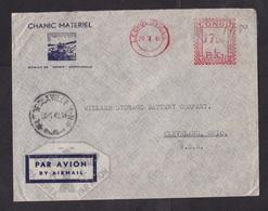 Belgian Congo: Airmail Cover To USA, 1949, Meter Cancel, Chanic Equipment Company (minor Crease) - Belgisch-Kongo