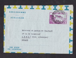 Belgian Congo: Stationery Aerogramme To Belgium, 1959, Airplane, Landscape, Air Letter (traces Of Use) - Belgisch-Kongo
