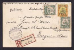25 Pf. Und 2x 5 Pf. Auf Einschreibkarte 1905 Ab Swakopmund Nach Engers - Colonie: Afrique Sud-Occidentale