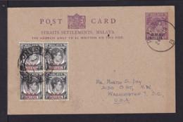 1948 - 4 C. Überdruck Ganzsache Mit Zufrankatur Ab PENANG Nach USA - Malaya (British Military Administration)