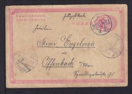 1 C. Ganzsache Ab TIENTSIN 1901 über Deutsche Feldpost Nach Offenbach - China