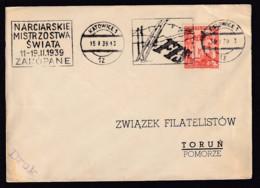 "1939- Maschinenstempel Katowice ""FIS"" - Brief - Ski"