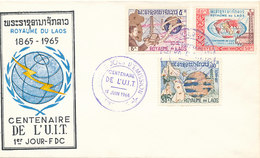 DC-1709 - FDC 1965 - 100 YEARS TELECOMMUNICATION ITU - UIT - MORSE TELEGRAPH TELEPHONE SATELLITE - LAOS - Telecom