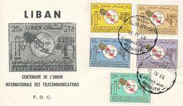 DC-1710 - FDC 1966 - 100 YEARS TELECOMMUNICATION ITU - UIT - MORSE TELEGRAPH TELEPHONE SATELLITE - LIBANON LIBAN - Telecom