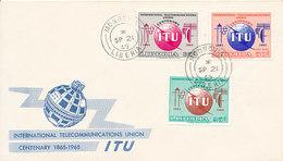 DC-1711 - FDC 1965 - 100 YEARS TELECOMMUNICATION ITU - UIT - MORSE TELEGRAPH TELEPHONE SATELLITE - LIBERIA - Telecom