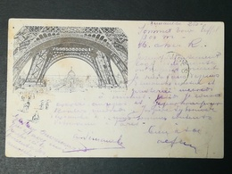 TP Sage 10c Sur CP Illustrée Libonis Tour Eiffel. Cachet Exposition Universelle 1889. Expédiée Vers Bruges (Belgique) - 1876-1898 Sage (Type II)