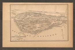 CARTE PLAN PARIS 1924 - PLAN DU JARDIN D'ACCLIMATATION - TRAMWAYS ELECTRIQUE - BOIS DE BOULOGNE - Cartes Topographiques