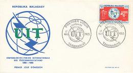 DC-1718 - FDC 1965 - 100 YEARS TELECOMMUNICATION ITU - UIT - MORSE TELEGRAPH TELEPHONE SATELLITE - MALAGASAY - Telecom