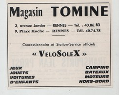 Magasin Tomine VeloSolex   Rennes   1965 - Werbung