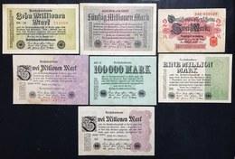 2 Mark 1914 + 100000 Mark 1923 + 1 + 3 + 3 Million Mark 1923 + 10 + 50 Millionen Mark 1923 +  LOTTO 1528 - [ 3] 1918-1933 : Repubblica  Di Weimar