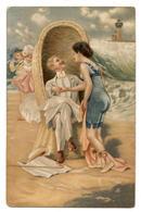 En 1900,le Vieux Monsieur Et La Jolie Baigneuse.                        .E.40 - Hommes