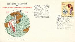 DC-1732 - FDC 1965 - 100 YEARS TELECOMMUNICATION ITU - UIT - MORSE TELEGRAPH TELEPHONE SATELLITE - MOÇAMBIQUE - Mozambique