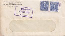 Venezuela THE ROYAL BANK OF CANADA, MARACAIBO 1926 Cover Letra HAMBURG Germany 2x Bolivar Stamps - Venezuela