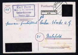 6 Pf. Überdruck-Ganzsache (Hitler) - P D814I Ab Lindau Nach Bielefeld - Zone Française