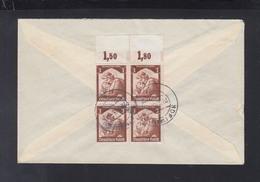 Dt. Reich 4er Block Rand Auf Brief 1935 Hof Nach Frankfurt Am Main - Alemania