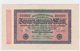 Billet De 20 000 Mark Du 20-2-1923 Pick 85   Neuf - [ 2] 1871-1918 : Impero Tedesco