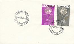 DC-1740 - FDC 1965 - 100 YEARS TELECOMMUNICATION ITU - UIT - MORSE TELEGRAPH TELEPHONE SATELLITE - ZAMBIA - Telecom