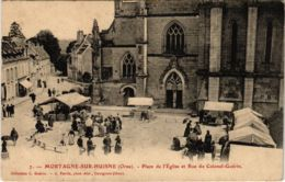 CPA Mortagne-sur-Huisne - Place De L'Eglise Et Rue Du Colonel Guerin (800276) - Mortagne Au Perche