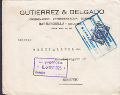 Colombia GUIERREZ & DELGADO, Boxed Cds. BARRANQUILLA 1926 Cover Letra HAMBURG Germany 8c. Wappen Stamp - Kolumbien