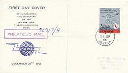 DC-1747 - FDC 1965 - 100 YEARS TELECOMMUNICATION ITU - UIT - MORSE TELEGRAPH TELEPHONE SATELLITE - JAMAICA - Esploratori