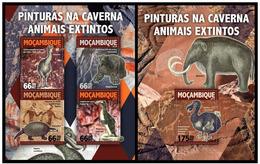 Mozambique 2016 Extinct Fauna Cave Painting Klb + S/s MNH - Postzegels