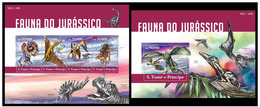 Sao Tome And Principe 2015 Fauna Prehistoric Jurassic Period Klb+s/s MNH - Postzegels