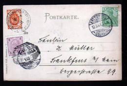 3-Länderfrankatur Auf Karte 1901 Ab Kattowitz - Germania