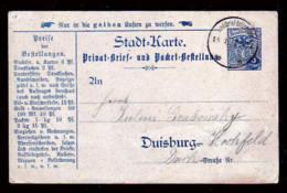 DUISBURG - 3 Pf. Wappen Blau Ganzsache Gebraucht 1898 - Poste Privée