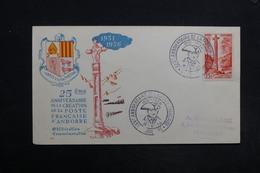ANDORRE - Enveloppe Commémorative En 1956 De La Création De La Poste Française D 'Andorre - L 31344 - Lettres & Documents