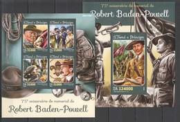 ST1593 2016 S. TOME E PRINCIPE ORGANIZATIONS SCOUTING ROBERT BADEN-POWELL 1KB+1BL MNH - Scoutisme
