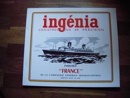 PAQUEBOT FRANCE - INGENIA - RARE MAQUETTE NEUVE DU PAQUEBOT A DECOUPER Publicité Mer Bateau - Maritime Decoration