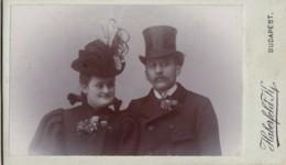 Couple CDV Cabinet Photo Atelier Haberfeld Budapest Hungary - Oud (voor 1900)