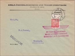 B&M: Brief Asch 1938 Als Drucksache Nach Rossbach - Propagandastempel - Occupation 1938-45
