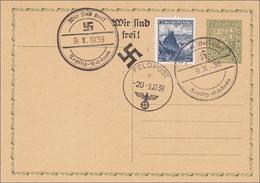 B&M: Ganzsache Mit 3 Stempeln Teplitz Schönau 1938 - Propaganda - Occupation 1938-45