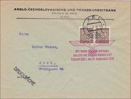 B&M: Brief Asch 1938 Als Drucksache - Propagandastempel - Occupation 1938-45
