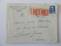 Enveloppe Crédit Foncier Taxée 20f (2 X 10f) - Saint-Lo Vers Saint James - 1955 - Marcophilie (Lettres)
