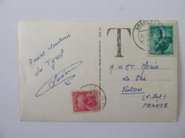 Carte Postale Taxée 5f - Autriche Bregenz Vers Vertou (Loire Inférieure) - 1950 - Poststempel (Briefe)