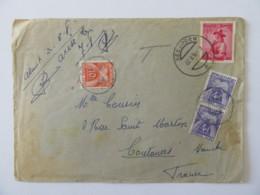 Enveloppe Taxée 18f (10f + 2 X 4f) - Autriche Seeboden Vers Coutances - 1956 - Marcophilie (Lettres)