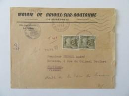 Enveloppe Mairie De Brioux Sur Boutonne Taxée 40f - Vers Poitiers - Taxe Doublée - 1958 - Marcophilie (Lettres)