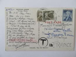 Carte Postale Etats-Unis Taxée 40c - Chicago Vers St Brévin - Cachet Taxe 12c - 1961 - Postmark Collection (Covers)