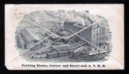 """2 C. Ganzsache Mit Bild """"Packing House Mit Eisenbahn"""" - Gebraucht 1887 Ab Pittsburgh - ...-1900"""