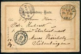 Correspondenz-Karte, Wien 24.7.1899 - Maros Vasarhely (Targa Mures) 25.7.1899 - Torda 26.7.1899 - Siebenbürgen (Transsylvanien)